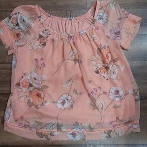 Orange floral off the shoulder blouse